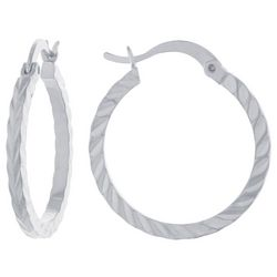 Starfish Box Silver Tone Textured Diecut Hoop Earrings