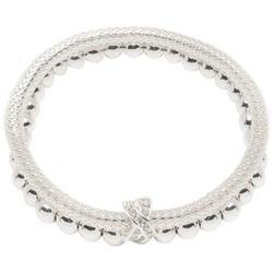2-pc. Silver Tone Mesh & Beaded Bracelet Set