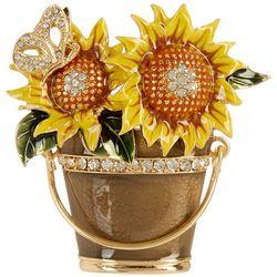 Napier Rhinestone Sunflower Bucket Pendant