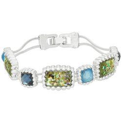 Napier Rectangle Linked Silver Tone Bracelet