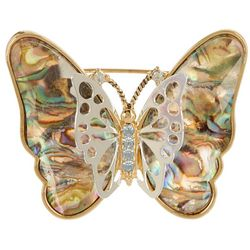 Napier Butterfly Abalone Gold Tone Pendant