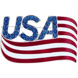 Napier Boxed Enamel Flag Rhinestone USA Pin
