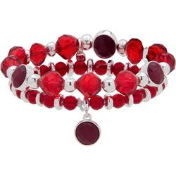 Ruby & Silver Tone Stretch Bracelet Set