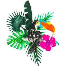 Enamel Toucan And Monstera Pin
