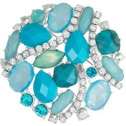 Turquoise Rhinestone Cluster Pin