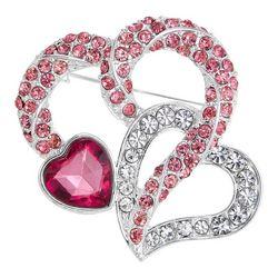 Napier Triple Rhinestone Heart Pin