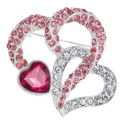Triple Rhinestone Heart Pin