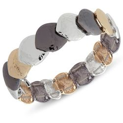 Nine West Tri Tone Hammered Link Bracelet