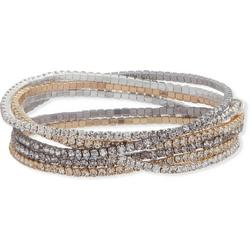 Tri Tone Rhinestone Stretch Bracelet Set