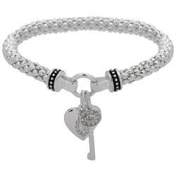 Heart & Key Charm Stretch Bracelet
