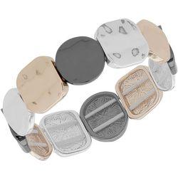 Nine West Boxed Tri Tone Linked Stretch Bracelet