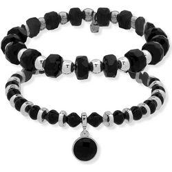 Nine West 2 Pc Black Beaded Stretch Bracelet Set
