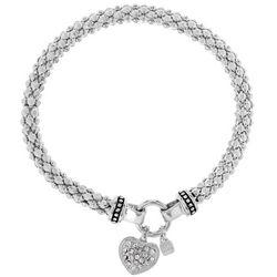 Pave Heart Charm Stretch Bracelet
