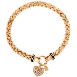 Pave Heart Gold Tone Stretch Bracelet