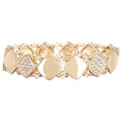 Rhinestone Square Gold Tone Bracelet