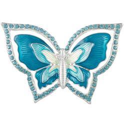 Turquoise Enamel & Rhinestone Butterfly Pin