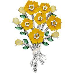 Napier Flower Bouquet Enamel & Rhinestone Pin