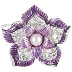 Boxed Purple Flower Enamel & Rhinestone Pin