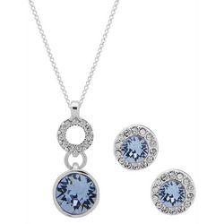 Nine West Boxed Blue Round Stone Necklace Set