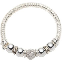 Nine West Pave Rhinestone Beads & Mesh Chain Bracelet