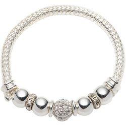 Pave Rhinestone Beads & Mesh Chain Bracelet