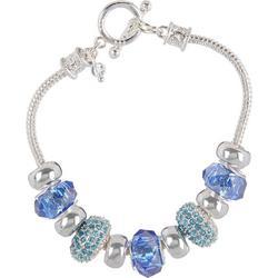 Blue & Aqua Glass Bead Slider Bracelet