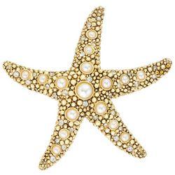Napier Gold Tone Starfish Pearl Pendant