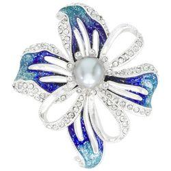 Napier Silver Tone Flower Crystal Pendant