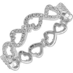 Nine West Boxed Rhinestone Heart Stretch Bracelet