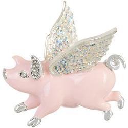 Triple Flying Pig Enamel & Rhinestone Heart Pin