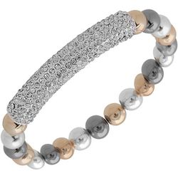 Nine West Tri Tone Bead & Rhinestone Bar Bracelet