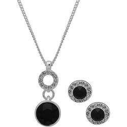 Nine West Black Ring Drop Pendant Necklace Set