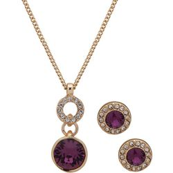 Nine West Purple Rhinestone Drop Necklace Set