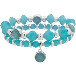 Nine West Boxed 2 Pc Aqua Beaded Bracelet Set