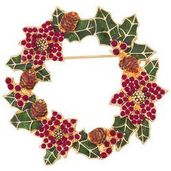 Napier Holiday Enamel & Rhinestone Wreath Pin
