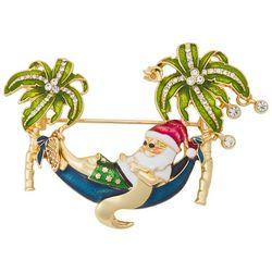 Napier Holiday Santa In A Hammock Pin