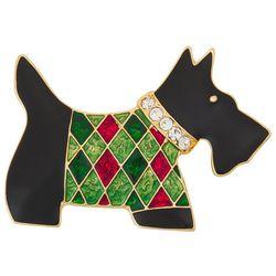 Napier Holiday Enamel & Rhinestone Scottie Dog Pin