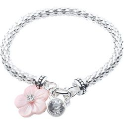 Nine West Boxed Pink Flower Charm Mesh Bracelet
