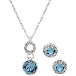 Nine West Double Drop Aqua Stone Necklace Set