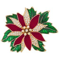 Napier Holiday Poinsettia Rhinestone& Enamel Pin