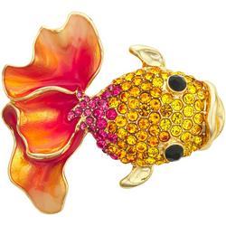 Amber Rhinestone Goldfish Pin