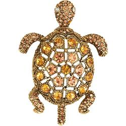 Amber Rhinestone Turtle Pin
