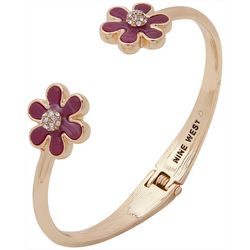 Nine West Goldtone Enamel Flower Hinge Cuff Bracelet