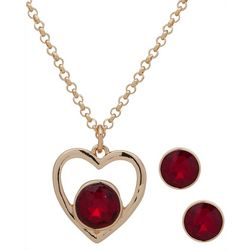 Nine West Red & Gold Tone Heart Necklace Set