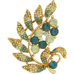 Goldtone Rhinestone Leaf Pin