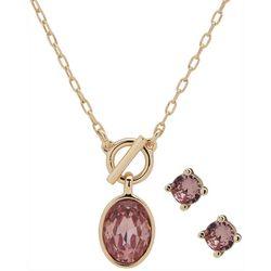 Nine West Gold Tone Oval Gem Necklace & Earring Set