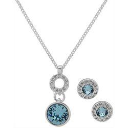 Nine West Silver Tone Round Gem Necklace & Earring Set