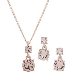 Nine West Pink Glass & Rose Gold Necklace Set