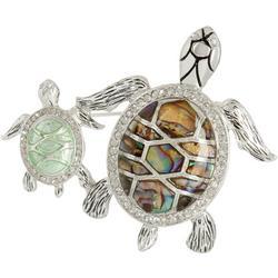 Rhinestone & Abalone Turtle Mom & Baby Pin