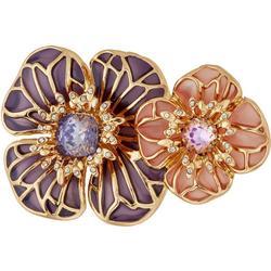 Boxed Double Enamel Flower Pin